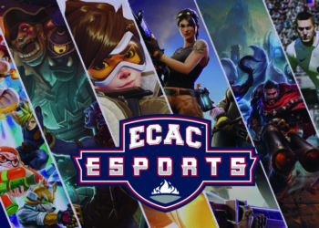 ECAC eSports Banner - FIFA, Fortnight, Hearthstone, League of Legends, Overwatch, Super Smash Bros Ultimate
